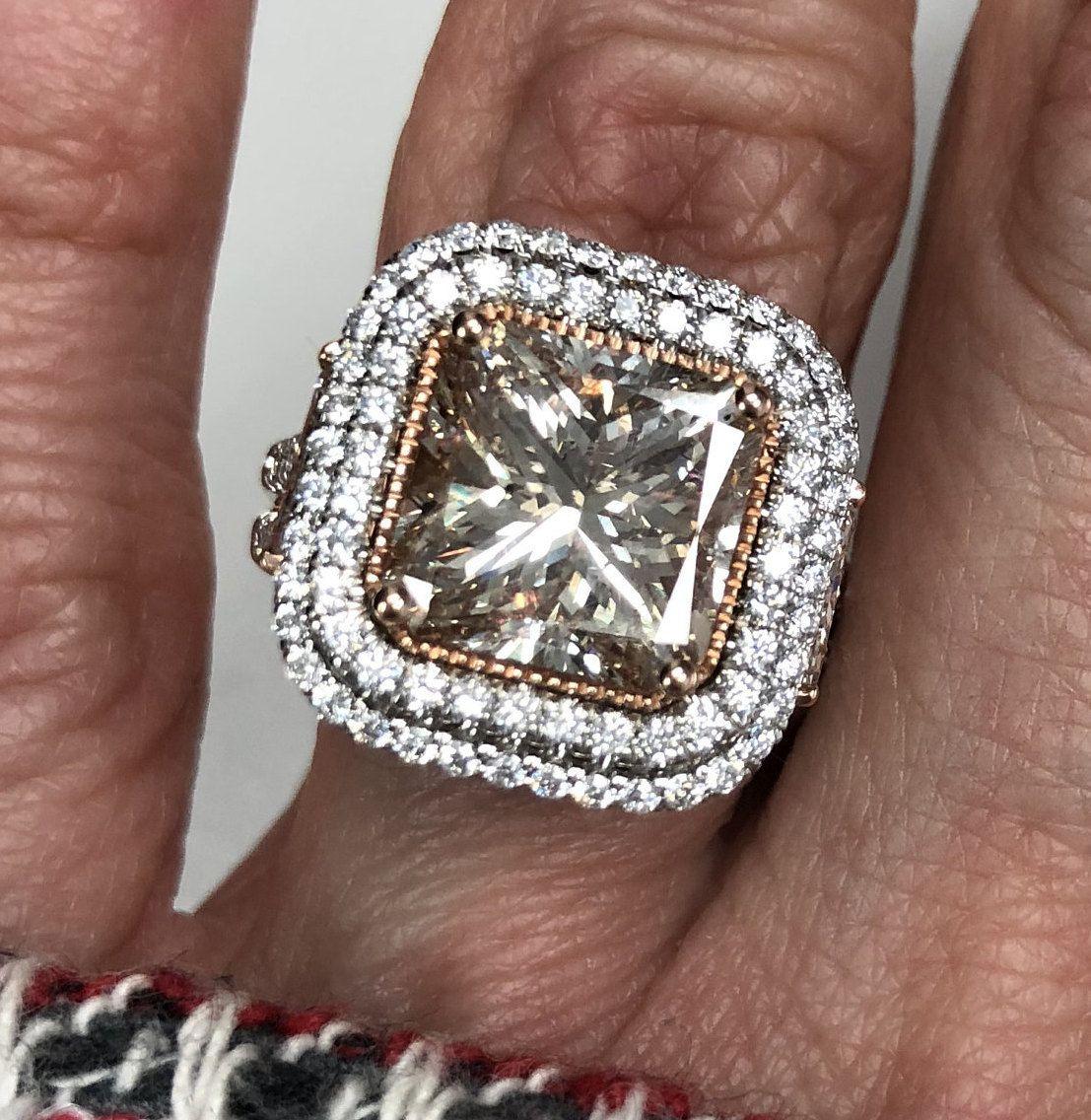 Art deco ct light pink diamond engagement ring radiant cut