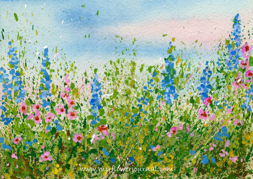 Create A Splattered Paint Flower Garden Flower Art Poppy Field