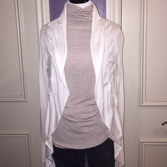 Cream open cardigan Cream, open ruffled down the sides cardigan. Long sleeve Express Sweaters Cardigans