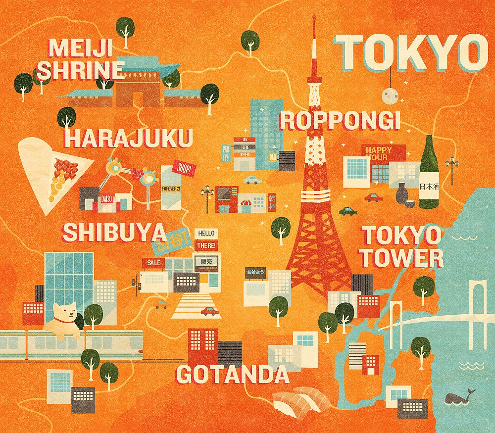 map of the area and highlights for tourists – Tourist Attractions Map In Tokyo