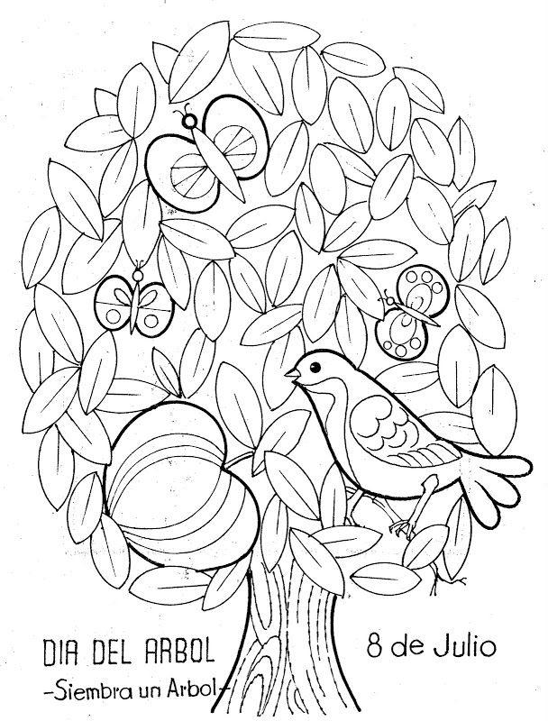 Pinto Dibujos: Día del árbol – 8 de julio para colorear | Diseños ...