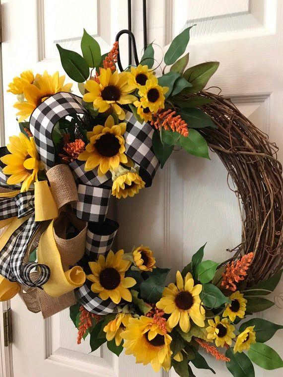 Photo of Everyday Wreath, Sunflower Wreath, Everyday Grapevine Wreath, Farmhouse Wreath, Buffalo Check Wreath, Summer Grapevine, Christmas gifts