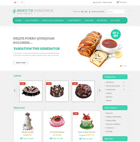 This OpenCart theme is designed for bakeries, and it features a ...