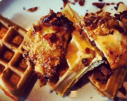 Chicken and Waffles with Lemon Bacon Candy Recipe