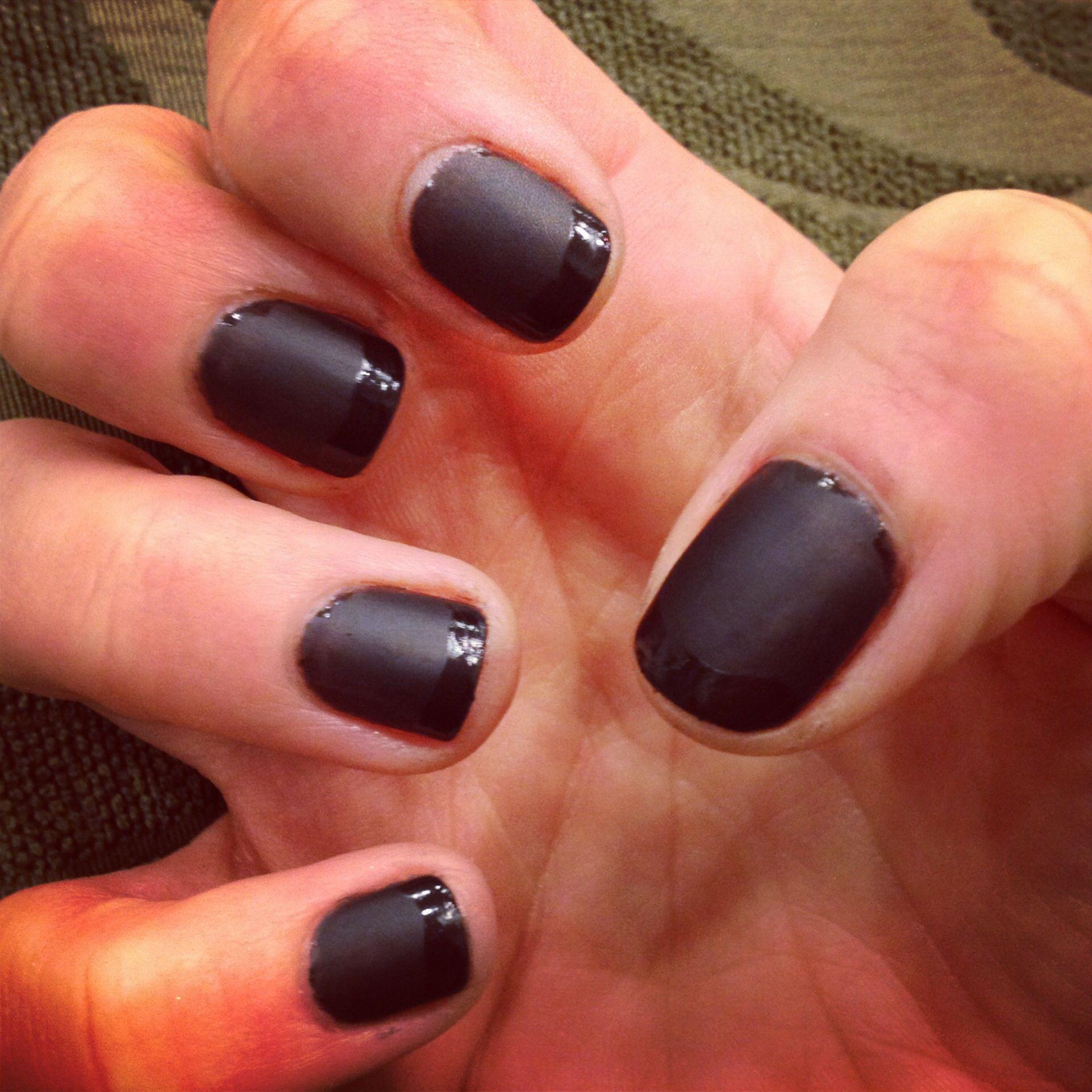 Dark Grey Matte nails with shiny French tips | Nail Polish ...