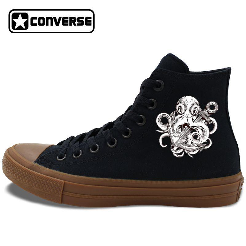 0f1dafbf40a9 Original Design Octopus Anchor High Top Converse Chuck Taylor II  Skateboarding Shoes Men Women s Canvas Sneakers