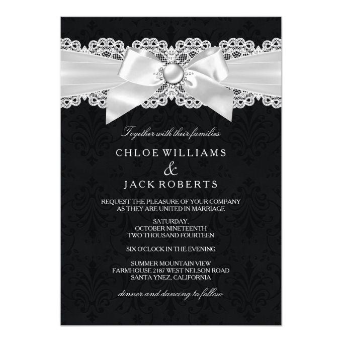 Black White Damask Pearl Bow Wedding Invite Zazzle Com Inexpensive Wedding Invitations Wedding Invitations Personalised Wedding Invitations