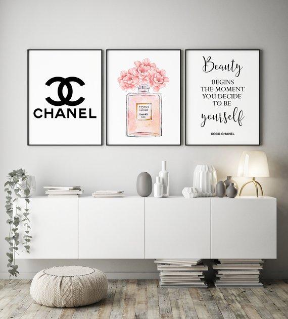 Set of 3 beauty quote prints dressing room wall art set beauty salon