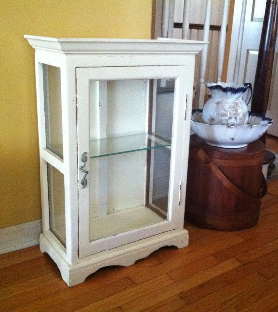 Vintage Primitive Farmhouse Cabinet With Glass Door Side