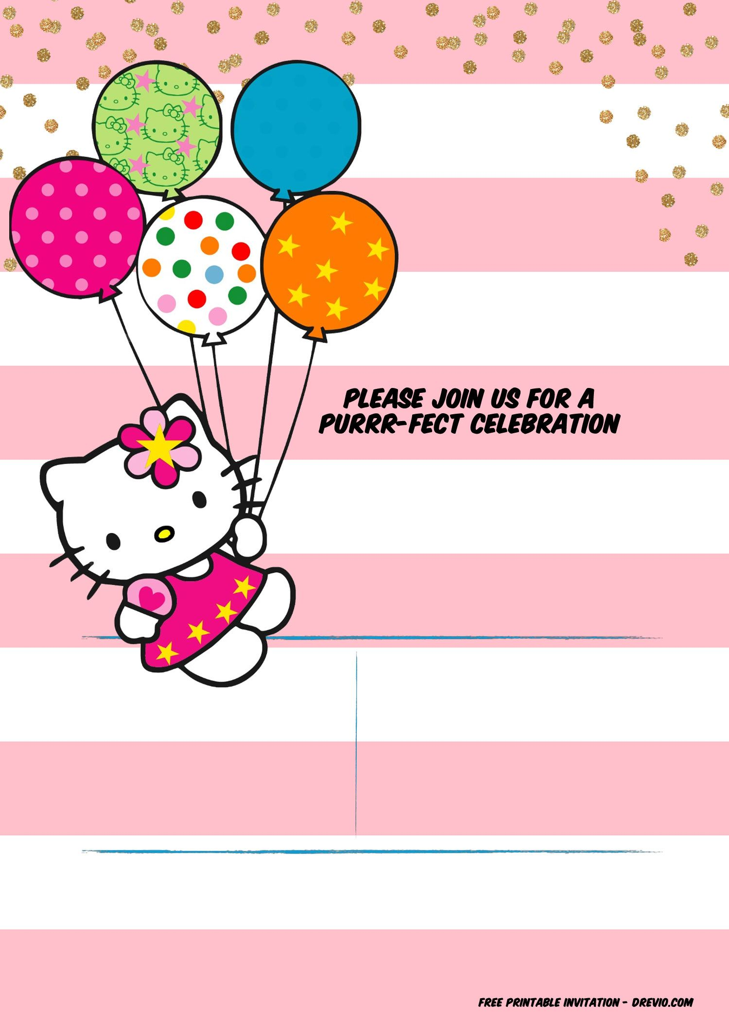 Hello Kitty Invitation Template Portrait Mode Hello Kitty Invitation Card Hello Kitty Invitations Hello Kitty Party