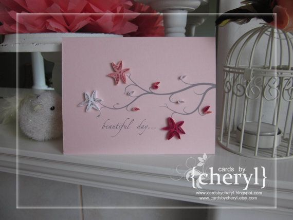 beautiful day cherry blossom card by APaperLifeOriginals on Etsy, $6.50