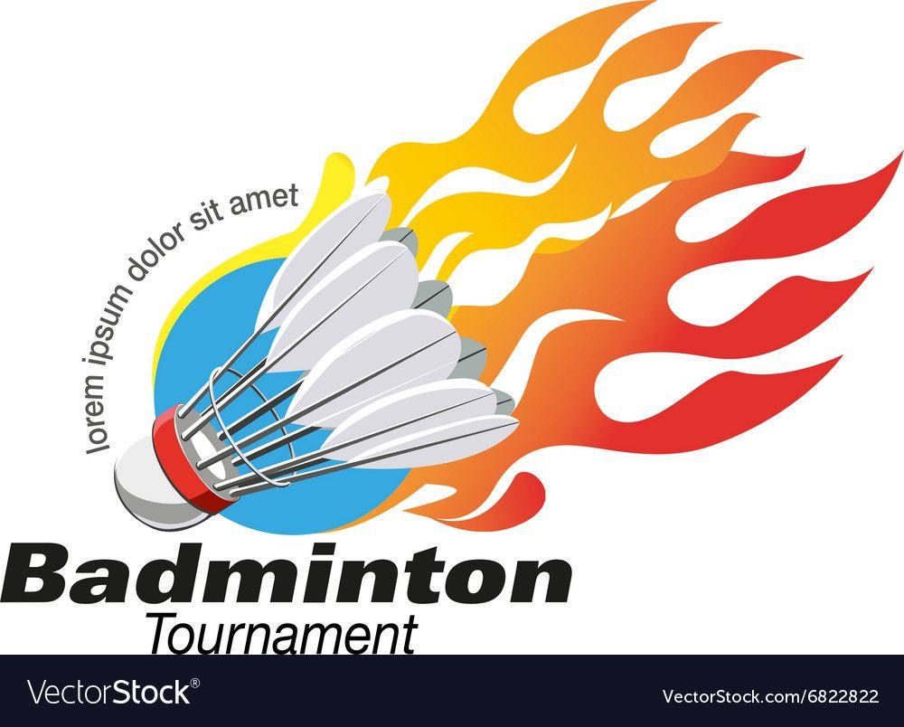 Shape Badminton tournament logo event vector image on