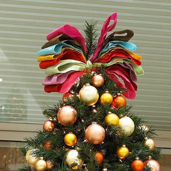 Schleife Drahtkante Basteln Christbaumspitze Bunt Xmas Tree