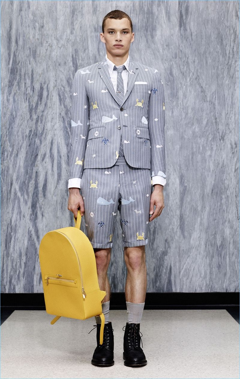 7e4f7713f34 The short suit receives a playful update with Thom Browne embracing  nautical motifs such as a whale graphic.