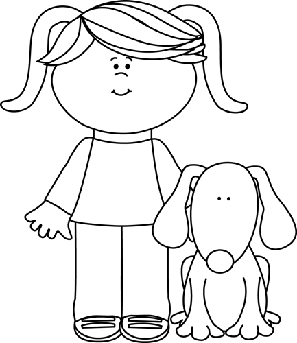 Black And White Girl With Pet Dog Clip Art Black And White Girl With Pet Dog Image Dog Clip Art Black And White Girl Clip Art