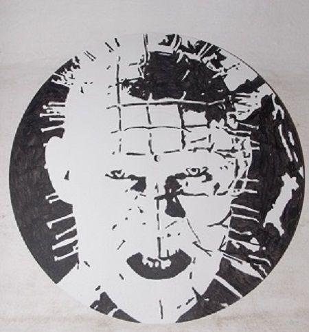 Peinture acrylique réalisée sur disque vinyle 33trs lp - peinte à la