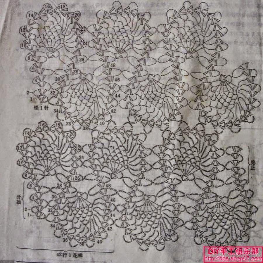 Punto crochet para tejer encaje / patrón | Crochet y Dos agujas ...