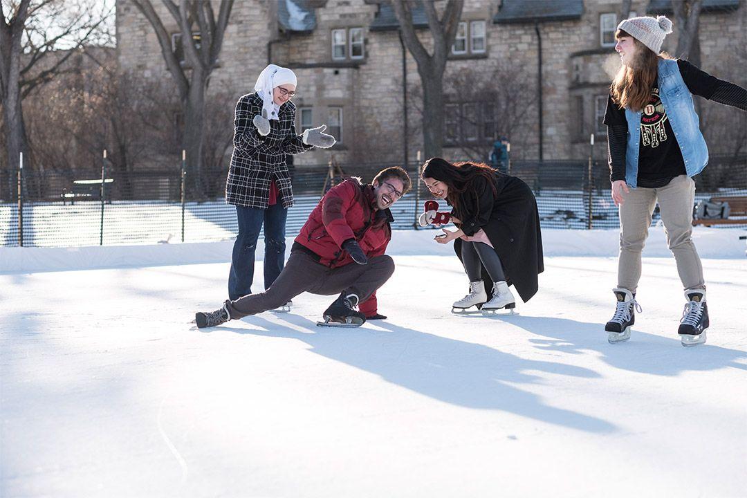 college campus ice skating Outdoor rink, College campus