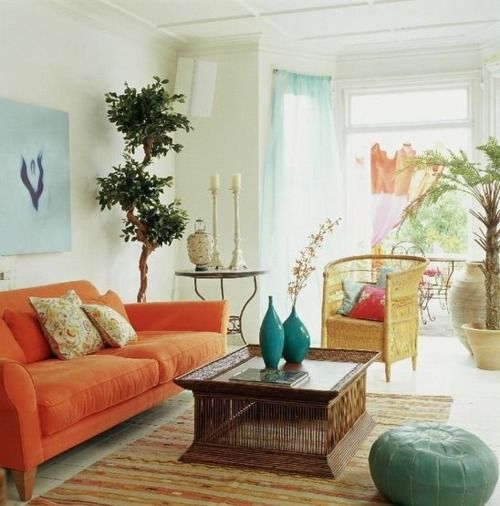 Turquoise And Coral Orange Living Room Love Color Combo Living Room Orange Bohemian Living Room Blue And Cream Living Room