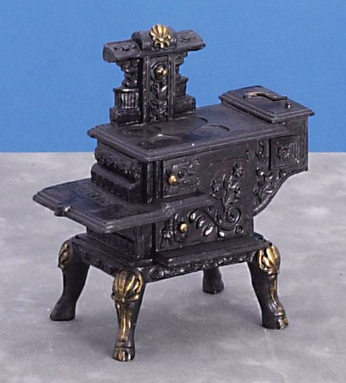 Dollhouse Miniature Wood Stove Vintage Style 1:12 Scale Cast Resin