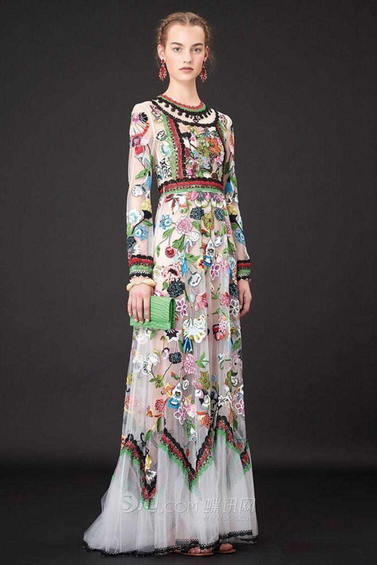 Designer inspired boho ethnic long sleeve floral embroidered overlay