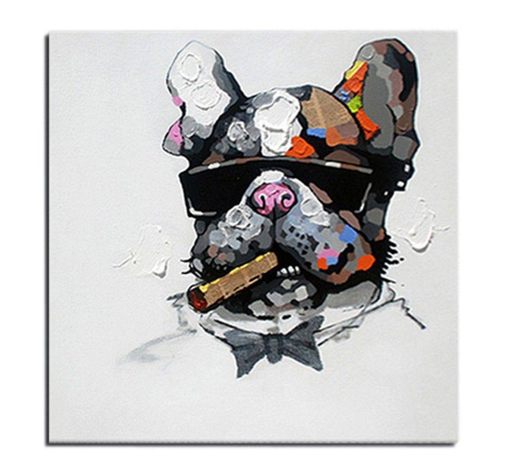 tableau chien bulldog churchill peinture l 39 huile sur toile fait main art contemporain. Black Bedroom Furniture Sets. Home Design Ideas