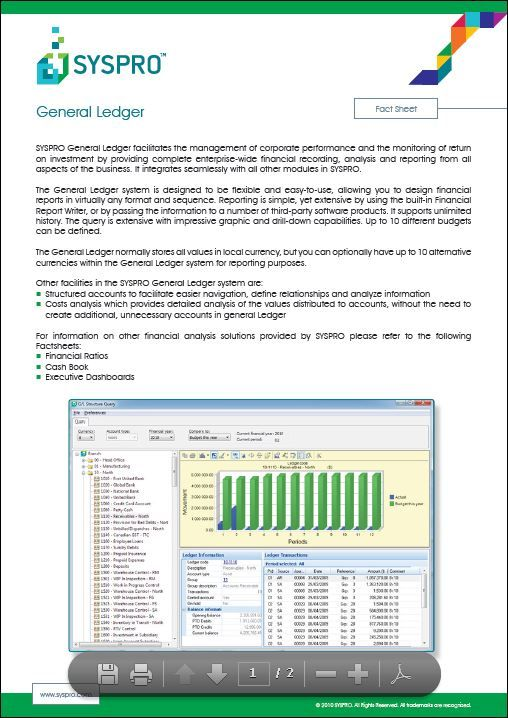 SYSPRO GL- facilitates the management of corporate performance and - business start up costs spreadsheet