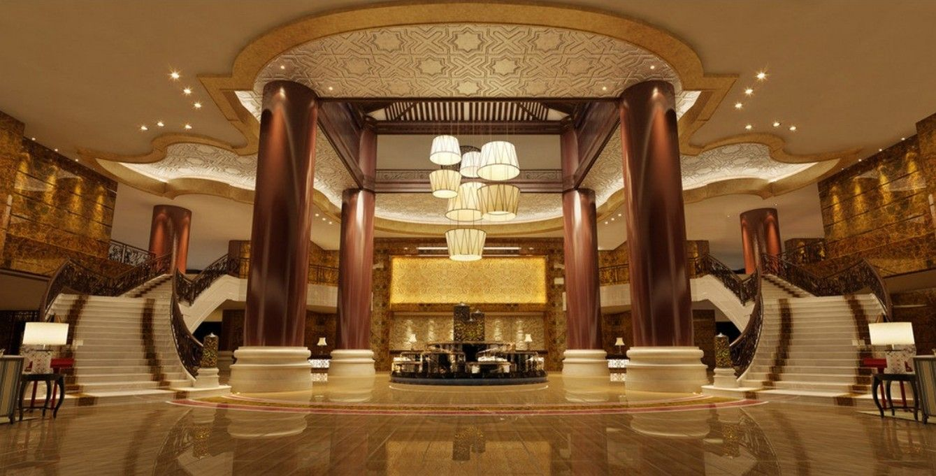 Hotel mix of oriental and western interior t m v i for Design hotel 3d