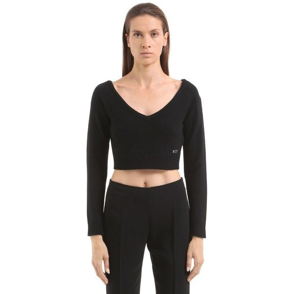 N°21 Women V Neck Wool Knit Cropped Sweater (699 AUD) ❤ liked on ...