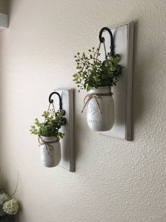 Set of Two Mason Jar Sconces with Greeney, Farmhouse Decor, Rustic Decor, Hanging Mason Jar Sconce, Mason Jar Decor, Hanging Planters,Wall D