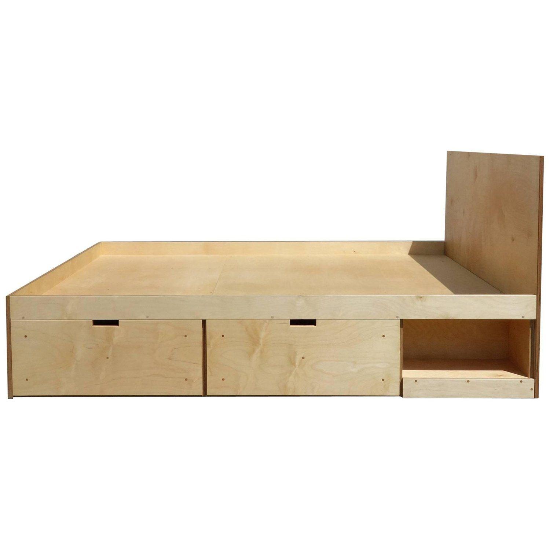 Waka Waka Contemporary Plywood Box Bed With Storage Furniture