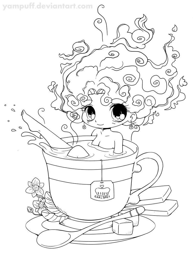 Tea Girl Lineart by *YamPuff on deviantART Digi stamp