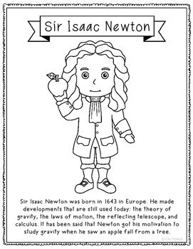 Sir Isaac Newton Inventor Coloring Page Craft Or Poster Stem