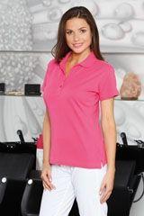 Damen Poloshirt Alba >> Damen Piqué Polo, tailliert geschnitten, V-Ausschnitt-Optik mit 2er- Knopfleiste Ton in Ton, Seitenschlitze, Kragen aus Rippstrick.