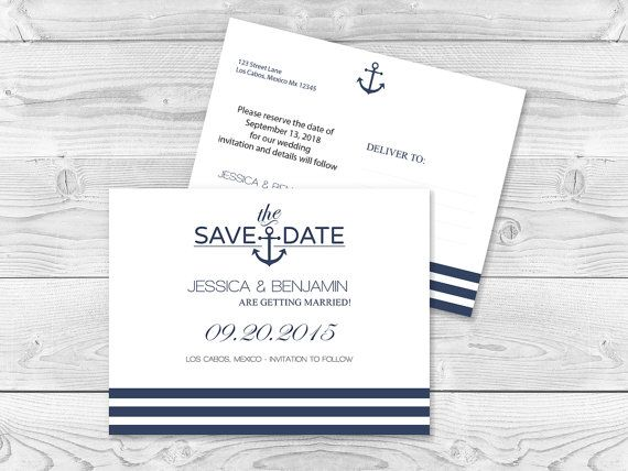 Nautical Save the Date Postcard Templates - Navy Anchor Stripes