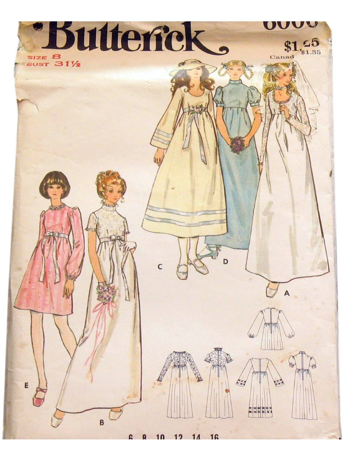 1970's Butterick Pattern No. 6000 Womens Pattern