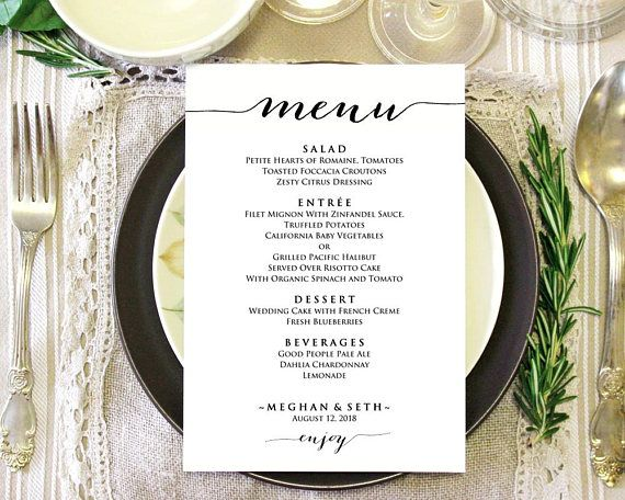 5 x7 menu template editable wedding menu instant download diy