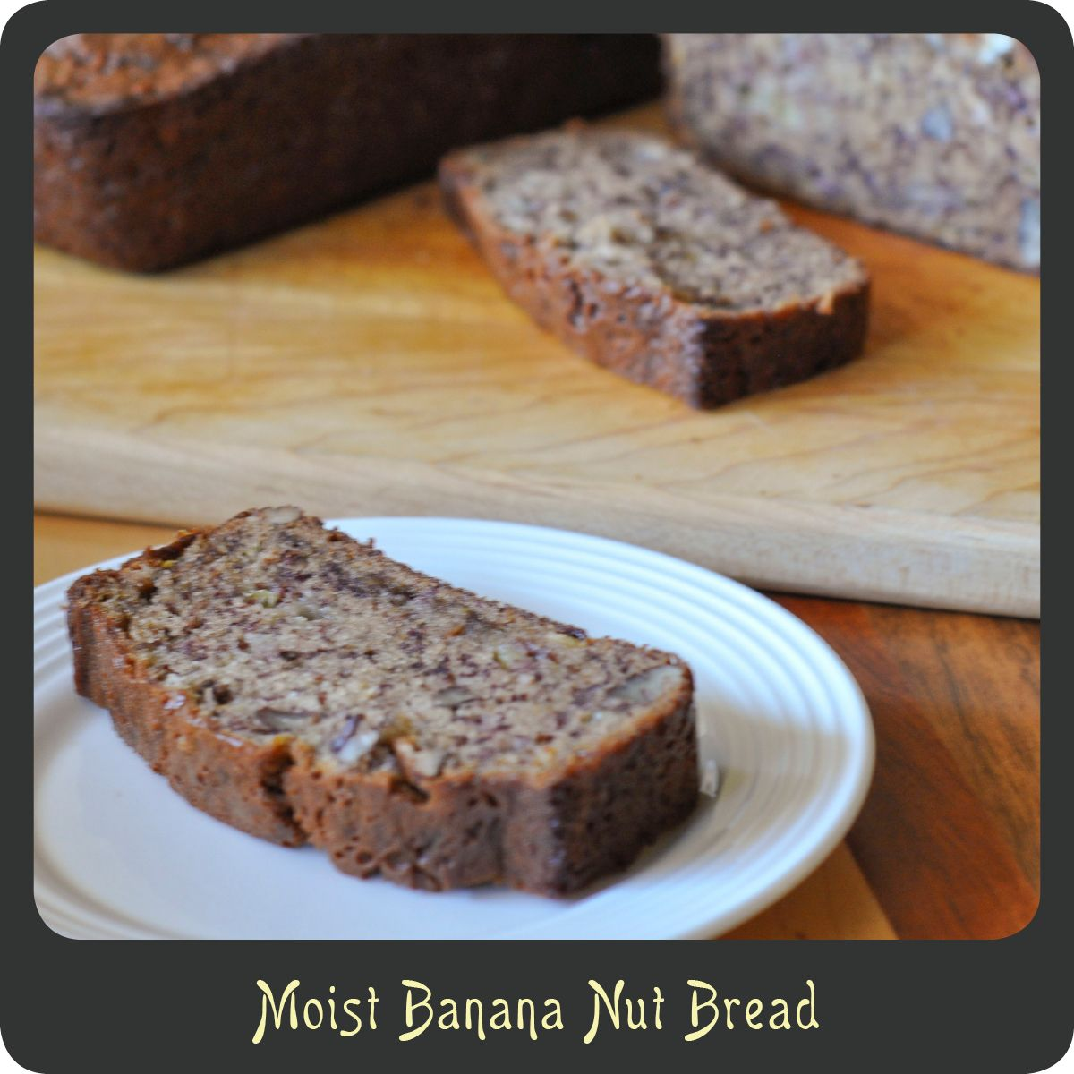This recipe makes the moistest most delicious banana nut bread ever! I have been making it for years. It is the perfect amount of sweetness for a morning treat. I love it warmed up with a little bi...