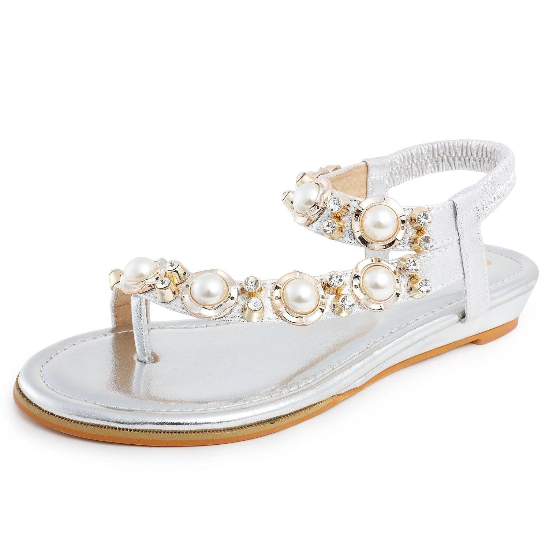 4b9a11e4803cc0 Womens Slingback Flat Sandals Bohemia Beaded Rhinestones Flip Flops ...