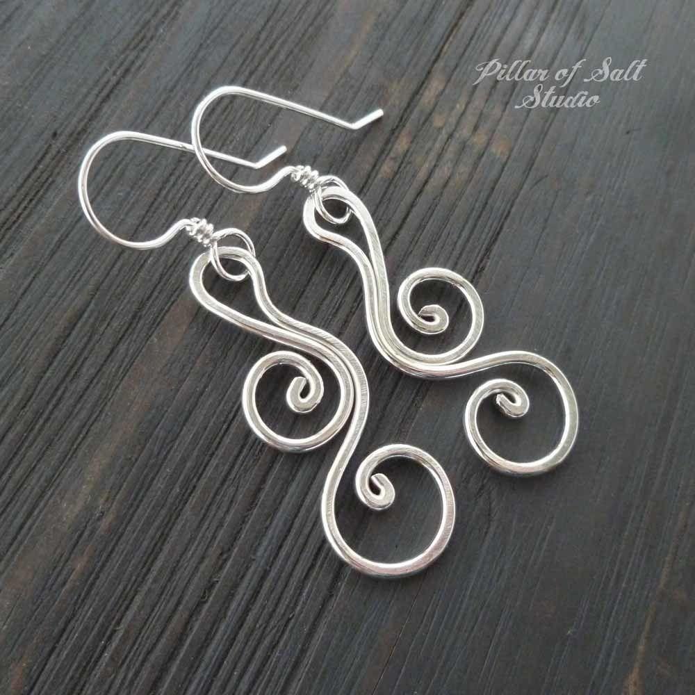 526592b5d sterling silver wire wrapped earrings / Pillar of Salt Studio handcrafted  jewelry #beadedjewelry
