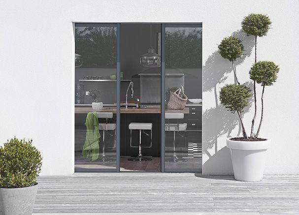 réalisation d une baie vitrée assemblage bois et alu