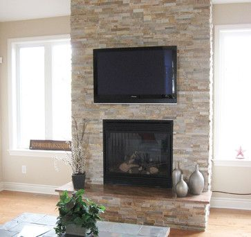 Modern Natural Stone Fireplace Split With Tv