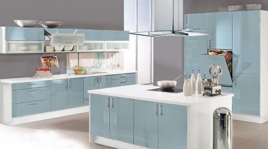 Meyer Küchen die glasfront in neuer hochglanzoptik platinblau metallic kombiniert