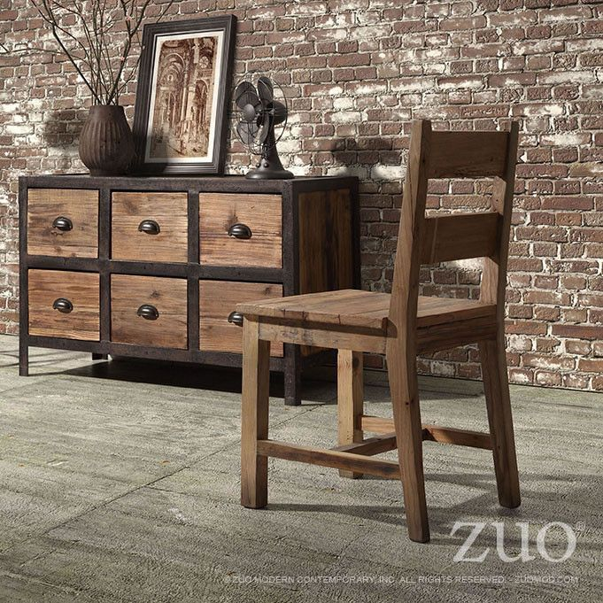 Zuo Twin Peaks Counter Chair Distressed Natural