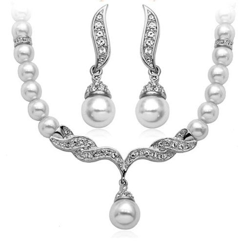 Women Jewelry Elegant Design White Pearl Cubic Zirconia Crystals Necklace and Earring Set S111 - Jewelry For Her