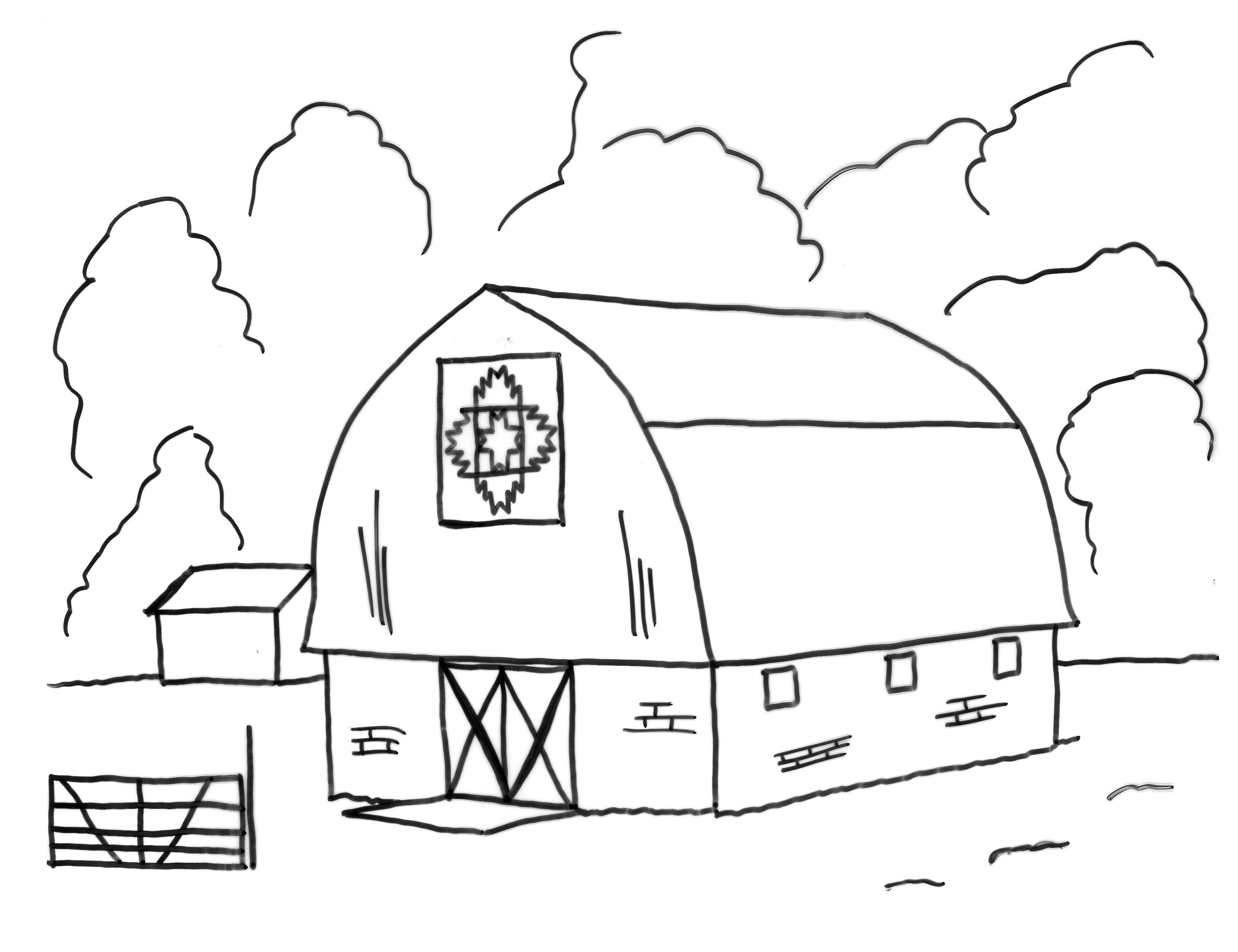 Coloring Page Barn Amusingdynu