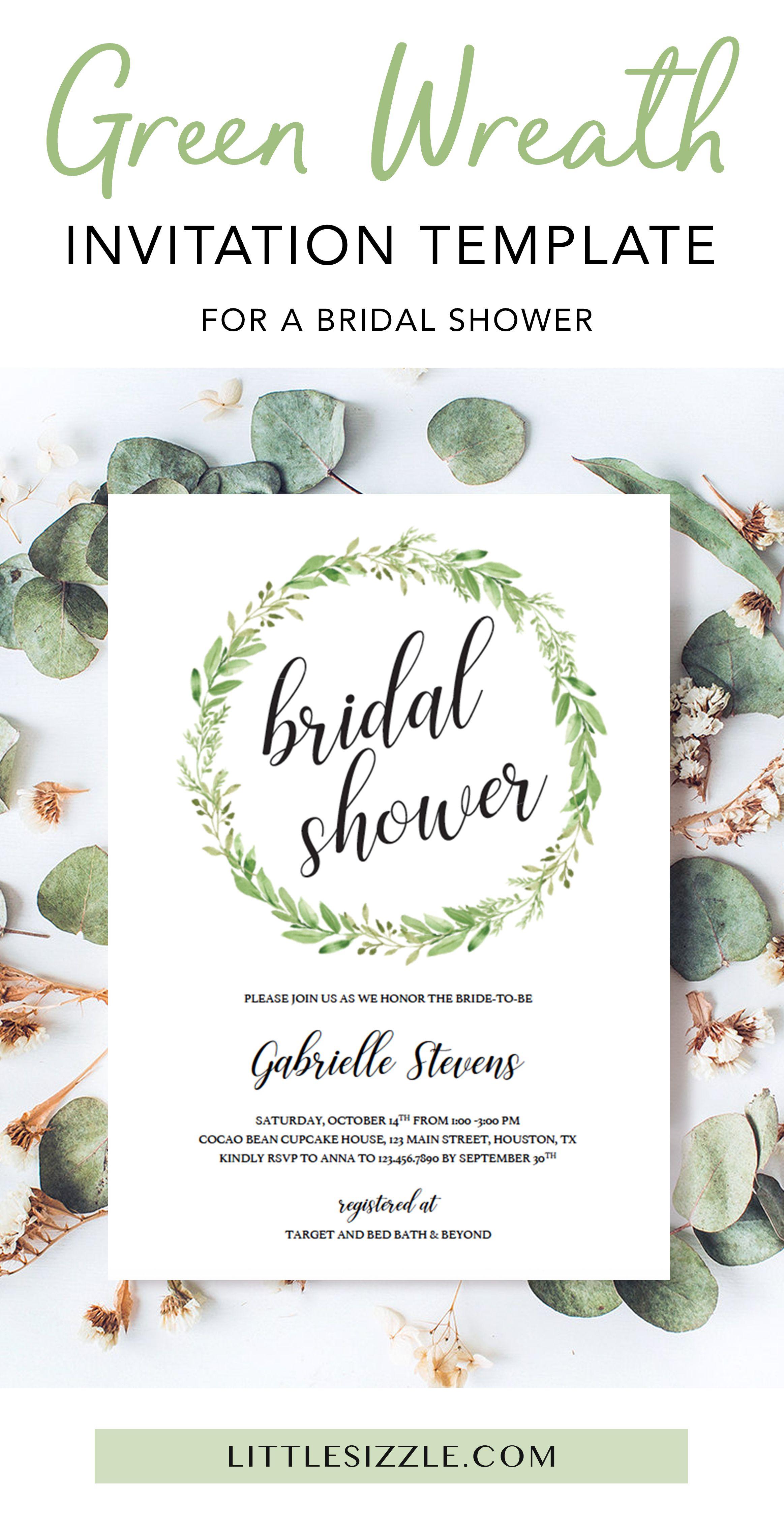 Greenery Bridal Shower Invitation Template Garden