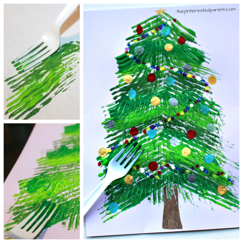 Fork Painted Christmas Tree