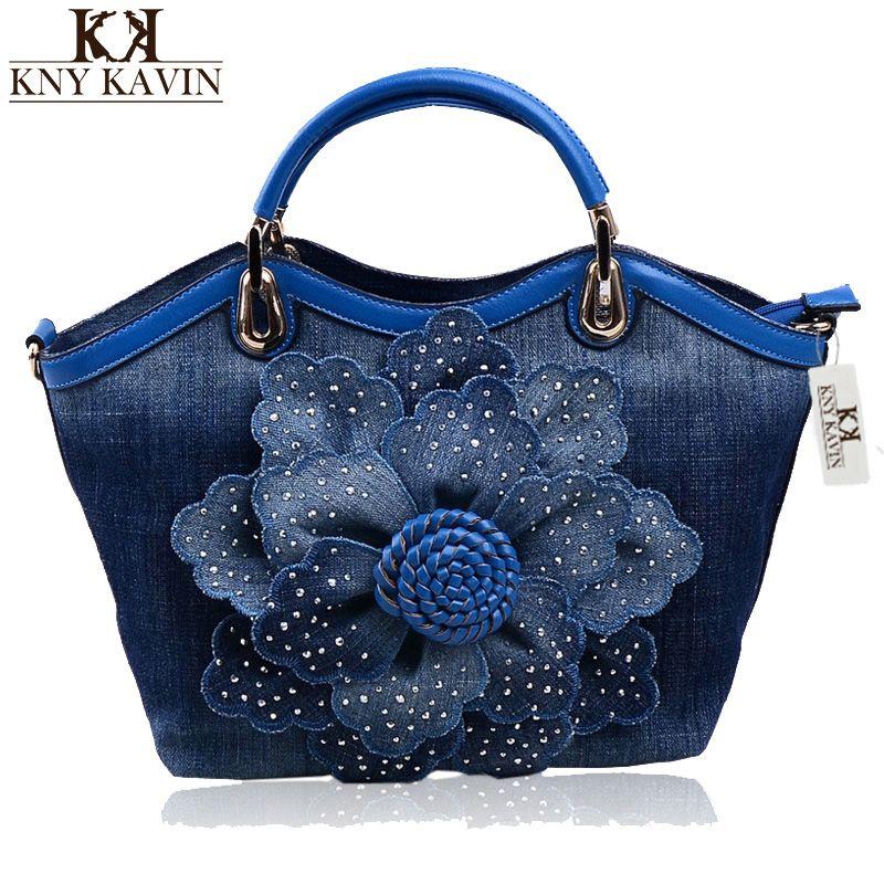 455163412267 2017 New Women Denim Bags Sweet Blue Rose Pattern High Quality Handbags  With Diamond Ladies Tote Bag Messenger Bags