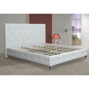 Best Ezf Ac16 Modern White Leatherette Platform Bed With 400 x 300